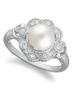 Sterling Silver Ring, Cultured Freshwater Pearl (7mm) And Diamond (1/10 Ct. T.w.) Ring