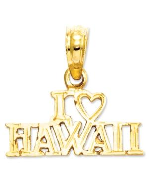 14k Gold Charm, I Heart Hawaii Charm