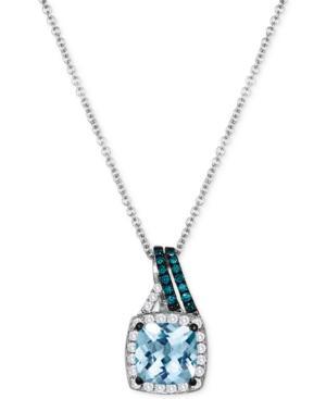 Le Vian Aquamarine (1-1/4 Ct. T.w.) And Diamond (1/5 Ct. T.w.) Pendant Necklace In 14k White Gold
