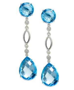 14k White Gold Earrings, Blue Topaz (28 Ct. T.w.) And Diamond (1/10 Ct. T.w.) Pear Drop Earrings