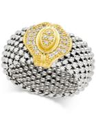 Diamond Two-tone Mesh Ring (1/5 Ct. T.w.) In Sterling Silver And 14k Gold-plated Sterling Silver