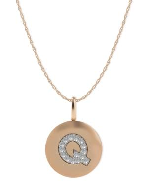 14k Rose Gold Necklace, Diamond Accent Letter Q Disk Pendant