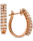 Diamond Double Row Huggie Hoop Earrings (5/8 Ct. T.w.) In 14k Rose Gold