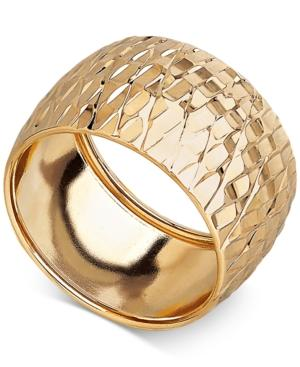Textured Wide Dome Ring In 14k Gold