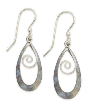 Jody Coyote Patina Bronze Earrings, Light Blue Tear-shaped Swirl Drop Earrings