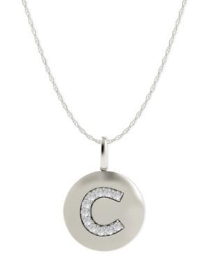 14k White Gold Necklace, Diamond Accent Letter C Disk Pendant