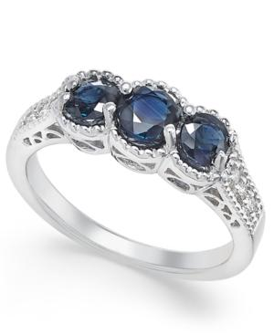 Sapphire (1-1/4 Ct. T.w.) And Diamond (1/8 Ct. T.w.) 3-stone Ring In 14k White Gold