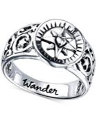 Unwritten Wander Compass Ring In Sterling Silver