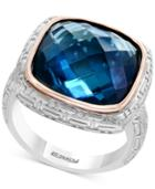 Balissima By Effy London Blue Topaz Ring (12 Ct. T.w.) In Sterling Silver & 18k Rose Gold
