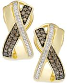 Diamond X-earrings (1/4 Ct. T.w.) In 14k Gold Vermeil And Sterling Silver