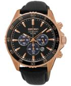Seiko Men's Solar Chronograph Black Leather Strap Watch 44mm Ssc448