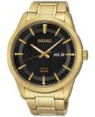 Seiko Men's Solar Gold-tone Stainless Steel Bracelet Watch 43mm Sne368
