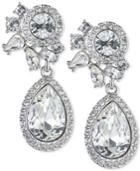 Givenchy Silver-tone Teardrop Crystal And Pave Drop Earrings