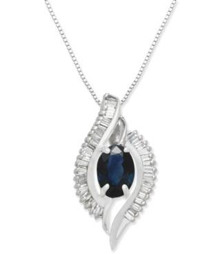 Sapphire (1 Ct. T.w.) & Diamond (3/8 Ct. T.w.) Pendant Necklace In 14k White Gold