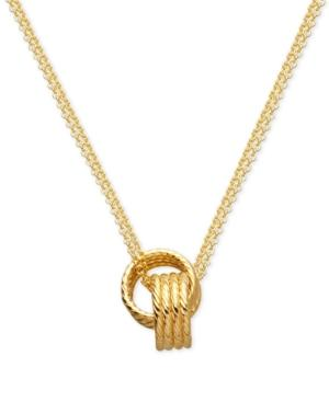 Interlocking Rings Pendant Necklace In 10k Gold