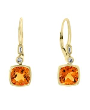 Effy Citrine (2 3/4 Ct.t.w) And Diamond (1/10 Ct.t.w.) Earrings In 14k Gold