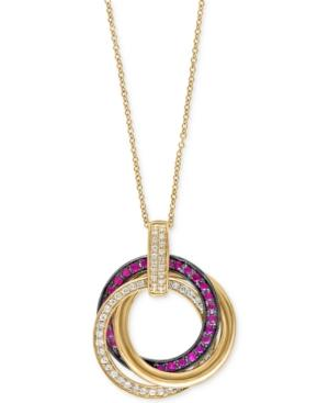 Ruby Royale By Effy Ruby (1/3 Ct. T.w.) And Diamond (1/4 Ct. T.w.) Pendant Necklace In 14k Gold