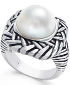 Cultured Freshwater Pearl Etched Ring (12mm) In Sterling Silver