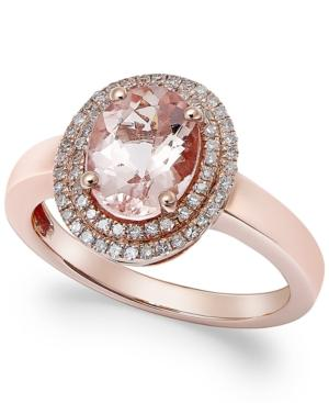 Morganite (1-1/2 Ct. T.w.) And Diamond (1/5 Ct. T.w.) Ring In 14k Rose Gold