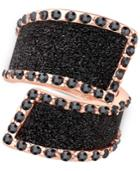 Guess Rose Gold-tone Black Stone Glitter Ring