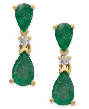 14k Gold Earrings, Emerald (1-1/5 Ct. T.w.) And Diamond Accent Pear Drop Earrings