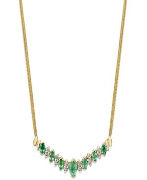 Emerald (7/8 Ct. T.w.) And Diamond (1/5 Ct. T.w.) Necklace In 14k Gold