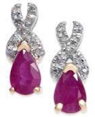 Ruby (1 Ct. T.w.) & Diamond (1/8 Ct. T.w.) Drop Earrings In 14k Gold
