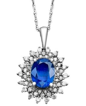 14k White Gold Necklace, Oval Sapphire (2-3/8 Ct. T.w) And Diamond (1/2 Ct. T.w) Pendant