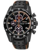 Seiko Men's Solar Chronograph Black Perforated Leather Strap Watch 41mm Ssc273