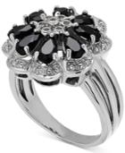Onyx & Diamond Accent Flower Ring In Sterling Silver