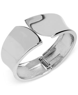 Touch Of Silver Bypass Bangle Bracelet In Silver-plated Metal