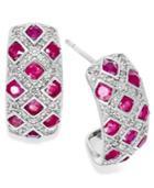 Sterling Silver Earrings, Ruby (2 Ct. T.w.) And Diamond (1/5 Ct. T.w.) Woven Earrings