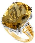 Citrine (18-1/2 Ct. T.w.) & Diamond (1/6 Ct. T.w.) Ring In 14k Gold