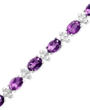 Sterling Silver Bracelet, Amethyst (11 Ct. T.w.) And Diamond Accent