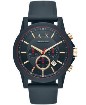 Ax Armani Exchange Men's Chronograph Blue Silicone Strap Watch 47mm
