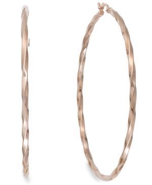 Twist Hoop Earrings In 14k Rose Gold Vermeil, 60mm