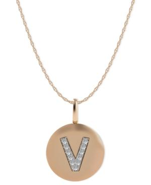 14k Rose Gold Necklace, Diamond Accent Letter V Disk Pendant