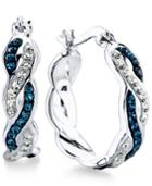 Unwritten Silver-tone Blue And Clear Crystal Braided Hoop Earrings