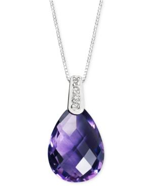 14k White Gold Necklace, Amethyst (4-9/10 Ct. T.w.) And Diamond Accent Brio Drop Pendant