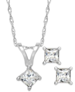 Diamond Necklace And Earrings Set, 14k White Gold Princess-cut Diamond Pendant And Earrings Set (1/10 Ct. T.w.)