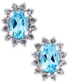 Blue Topaz (1 Ct. T.w.) And White Topaz (1/4 Ct. T.w.) Stud Earrings In 10k White Gold