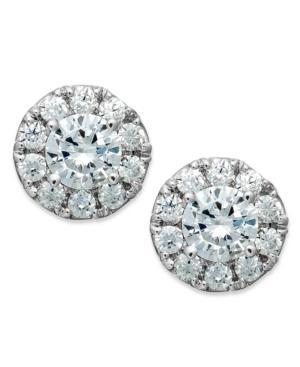 Diamond Earrings, 14k White Gold Diamond Halo Stud Earrings (1/2 Ct. T.w.)