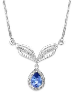 Tanzanite (3/4 Ct. T.w.) And Diamond (1/3 Ct. T.w.) Frontal Necklace In 14k White Gold