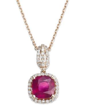 14k Rose Gold Necklace, Ruby (1-9/10 Ct. T.w.) And Diamond (1/4 Ct. T.w.) Cushion Cut Pendant