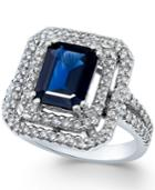 Sapphire (9/10 Ct. T.w.) And Diamond (5/8 Ct. T.w.) Ring In 14k White Gold