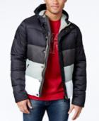 Armani Jeans Colorblock Puffer Coat With Hood