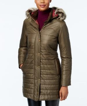 Barbour Faux-fur-trim Hooded Puffer Coat
