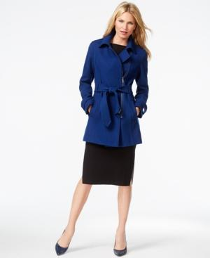 Kenneth Cole Asymmetrical-zip Belted Trench Coat