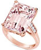 Morganite (13 Ct. T.w.) & Diamond (1/5 Ct. T.w.) Ring In 14k Rose Gold