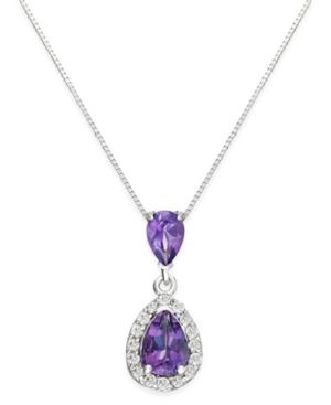 Amethyst (1 Ct. T.w.) And Diamond (1/6 Ct. T.w.) Pendant Necklace In 14k White Gold